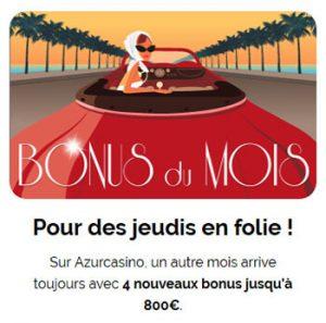 Bonus du mois Azur Casino