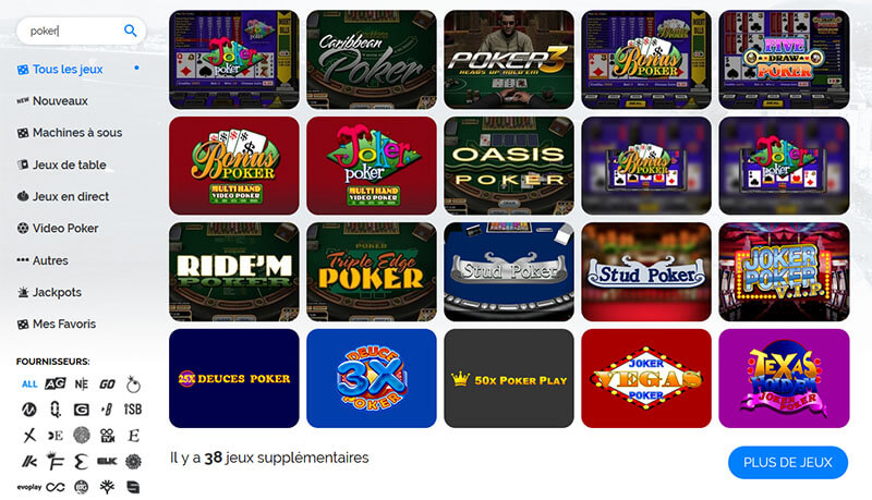 Choix poker Azur Casino