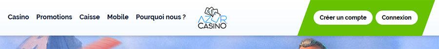 Création de compte Azur Casino