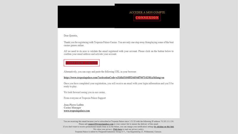 Mail confirmation Tropezia Palace