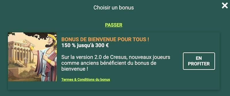 Profiter du bonus de bienvenue