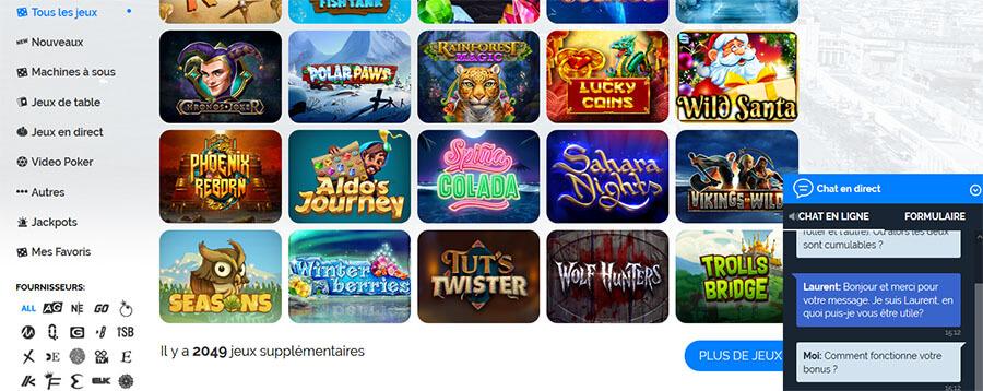 Support client Azur Casino