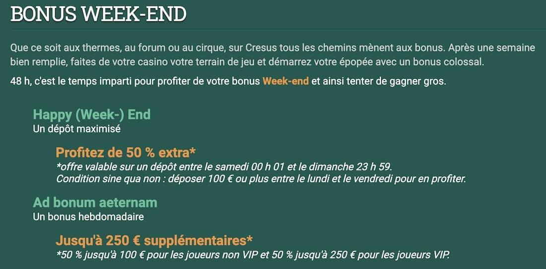 bonus weekend Cresus Casino