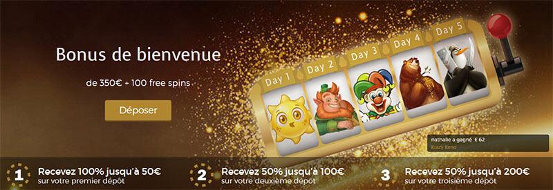 Bonus de bienvenue Casino Extra