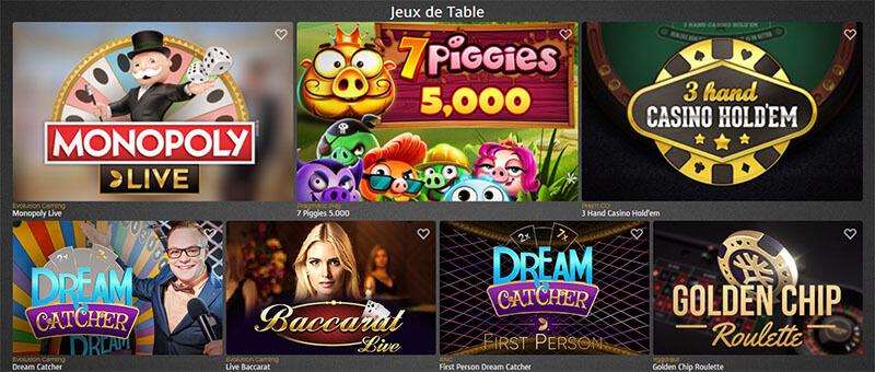 Jeux de table Casino Extra
