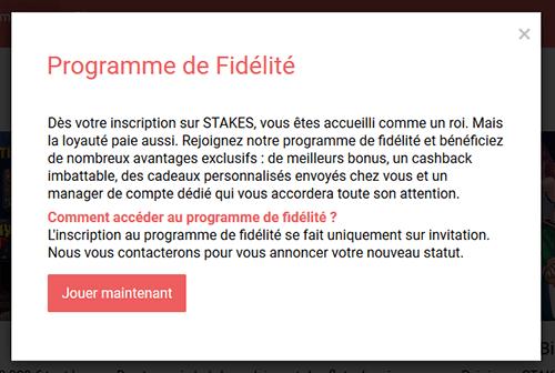 Programme fidélité Stakes Casino